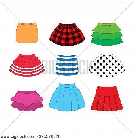 Set Of Skirts For Girls On White Background