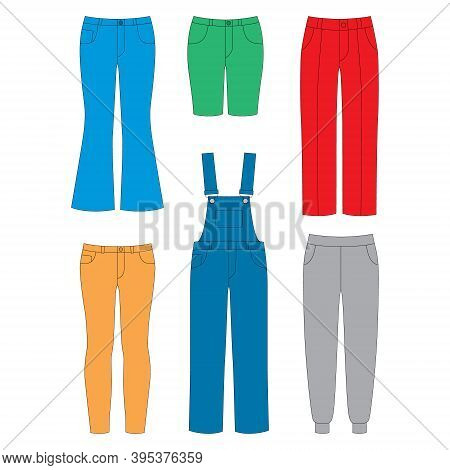 Set Of Pants For Girls On White Background