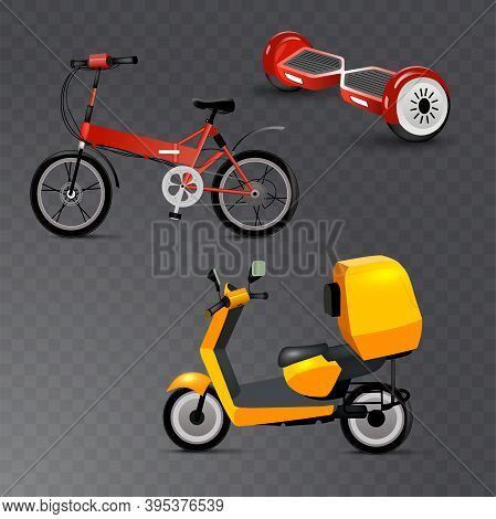 Realistic Youth City Transport Set On Transparent Background. Bicycle, Gyroscooter And Bike. Modern
