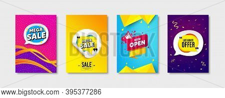 Mega Sale Bubble, Now Open Message And Last Minute Offer Set. Sticker Template Layout. Special Offer