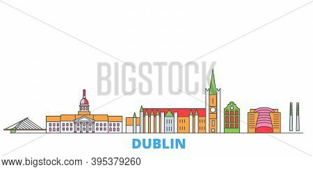 Irland, Dublin Line Cityscape, Flat Vector. Travel City Landmark, Oultine Illustration, Line World I