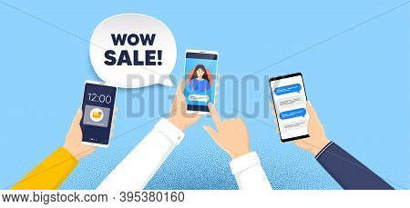 Wow Sale. Phone Chat Messages. Special Offer Price Sign. Advertising Discounts Symbol. Wow Sale Spee