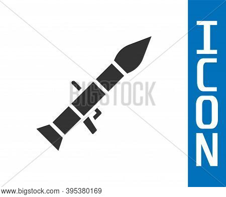Grey Rocket Launcher With Missile Icon Isolated On White Background. Vector