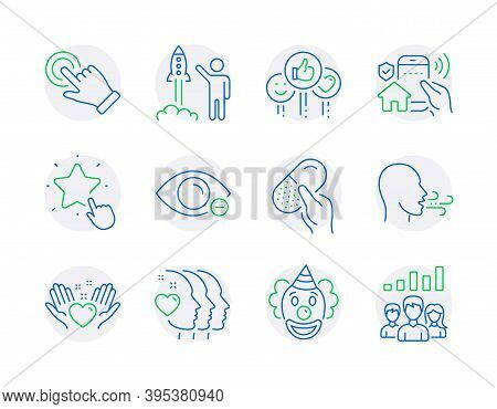 People Icons Set. Included Icon As House Security, Capsule Pill, Touchscreen Gesture Signs. Launch P