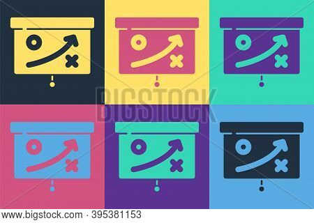 Pop Art Planning Strategy Concept Icon Isolated On Color Background. Cup Formation And Tactic. Vecto
