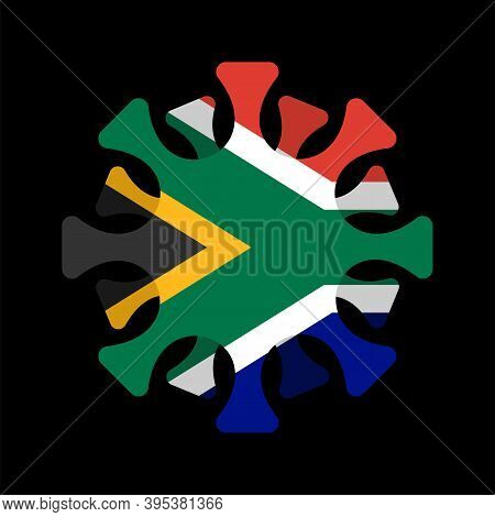 Coronavirus In South Africa. Microbe Covid-2019 In South Africa Flag. World Epidemic. Pandemic. Coun