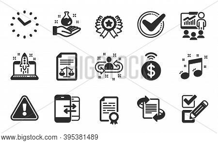 Winner Ribbon, Checkbox And Recruitment Icons Simple Set. Time, Marketing And Chemistry Lab Signs. P
