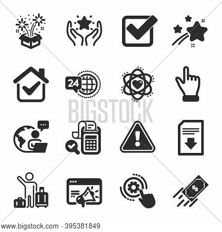 Set Of Business Icons, Such As Fast Payment, Airport Transfer, Click Hand Symbols. Atom, Fireworks,