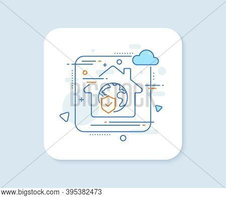 World Insurance Line Icon. Abstract Vector Button. Global Business Protection Sign. Internet Securit