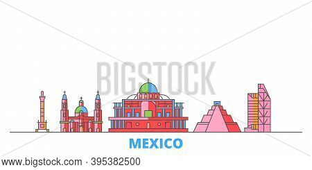Mexico, Mexico City Line Cityscape, Flat Vector. Travel City Landmark, Oultine Illustration, Line Wo