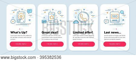 Set Of Technology Icons, Such As Star Rating, Hdd, Call Center Symbols. Mobile App Mockup Banners. S