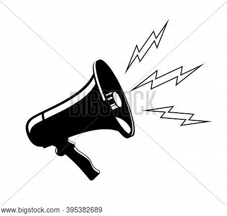 Cheer Megaphone Loud Speaker Bullhorn Vector Icon Template