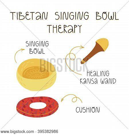 Tibetan Singing Bowl Therapy Set. Metallic Hand Crafted Bowl, Cushion, Healing Wooden Wand Or Stick.