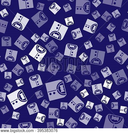 White Suit Icon Isolated Seamless Pattern On Blue Background. Tuxedo. Wedding Suits With Necktie. Ve