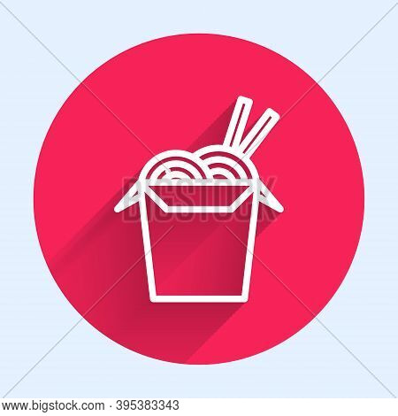 White Line Asian Noodles In Paper Box And Chopsticks Icon Isolated With Long Shadow. Street Fast Foo