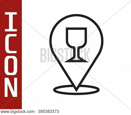 Black Line Alcohol Or Beer Bar Location Icon Isolated On White Background. Symbol Of Drinking, Pub,