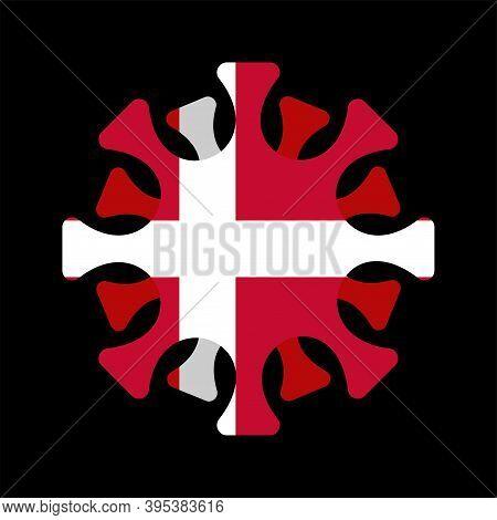 Coronavirus In Denmark. Microbe Covid-2019 In Danish Flag. World Epidemic. Pandemic. Country In Lock