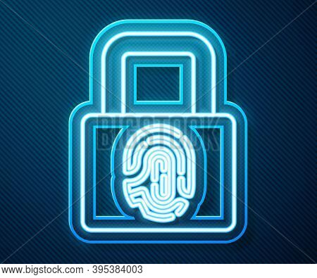 Glowing Neon Line Fingerprint With Lock Icon Isolated On Blue Background. Id App Icon. Identificatio