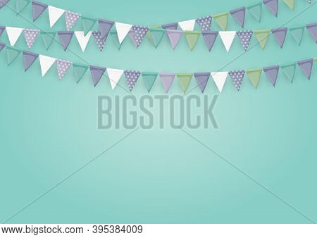Banner With Garland Of Flags And Ribbons. Holiday Party Background For Birthday Party, Carnaval. Vec