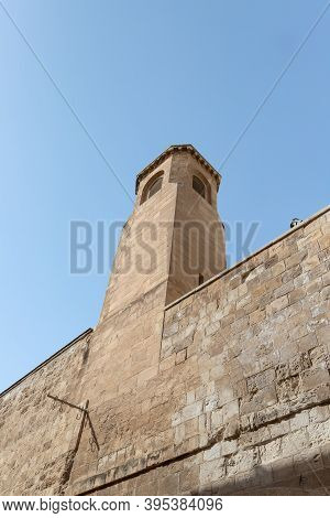 The Bell Tower Of The Monastery Of The Flagellation On The Via Dolorosa Street In The Old City Of Je