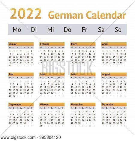 2022 German Annual Calendar. Weeks Start On Monday