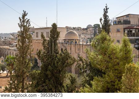 View From The Arab School In Via Dolorosa To The Old City Of Jerusalem In Israel
