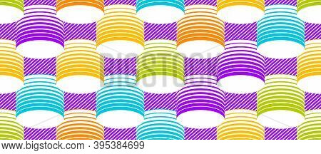 3d Tubes Optical Seamless Pattern, Vector Repeat Tiling Background, Op Art Theme Textile Or Wrapping