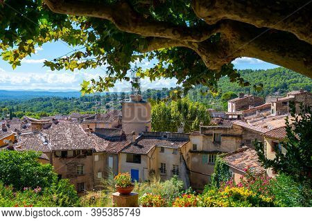 Travel Destination, Small Ancient Village Cotignac In Provence, Surrounded By Vineyards And Cliffs W