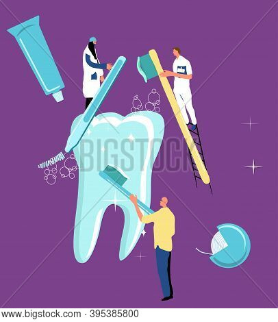 Teeth Whitening Concept.dentistry Service In Clinic.tiny Characters Brushing And Cleaning Huge Molar