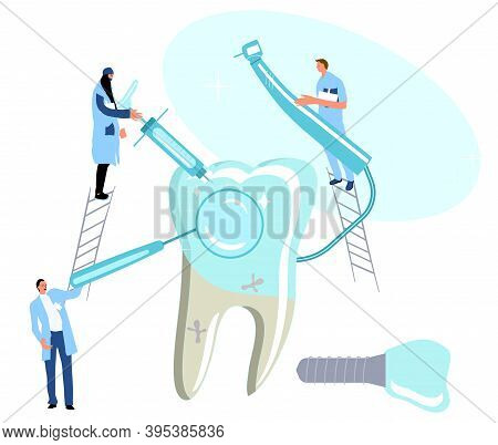 Dental Clinic.tiny Doctors Holding Drill Bit And Cure Huge Molar Tooth With Caries, Removing Plaque.