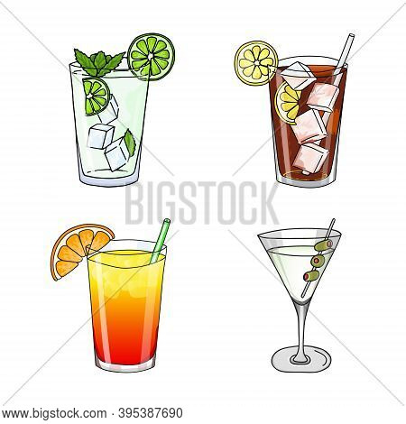 Set Of Glass Of Mojito, Long Island Ice Tea, Dry Martini Cocktail And Sex On The Beach Cocktail On A