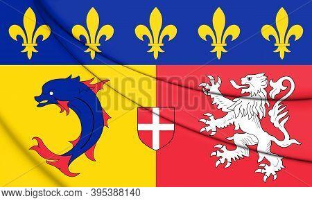 3d Flag Of Rhone-alpes, France. 3d Illustration.