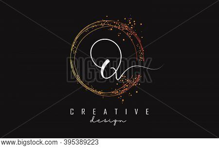 Golden Sparkling Circles And Glitter Frame For Handwriting Q Letter Logo. Shiny Rounded Vector Illus