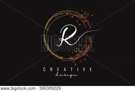 Golden Sparkling Circles And Glitter Frame For Handwriting R Letter Logo. Shiny Rounded Vector Illus