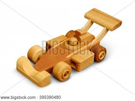 Wooden toy racing car isolated with clipping path on white background