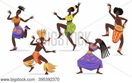 African Female Dancers Flat Set For Web Design. Cartoon Aboriginal People Dancing Folk Or Ritual Dan