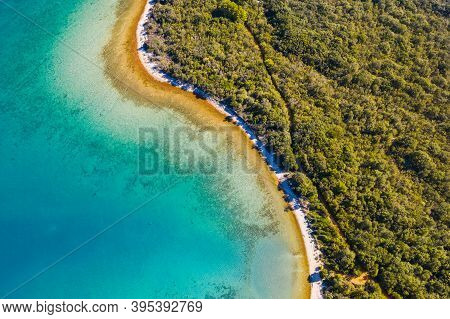 Aerial View Of Long Hidden Beaches And Emerald Sea Surface. Adriatic Coastline In Croatia, Dugi Otok