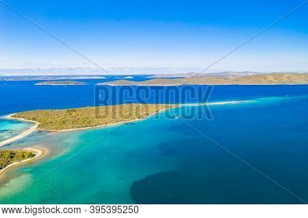 Amazing Seascape, Beautiful Archipelago Of Dugi Otok Island In Croatia, Aerial View From Drone