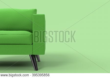 Green Armchair With Pillows On Studio Green Background. 3d Rendering And Illustration Of Recliner