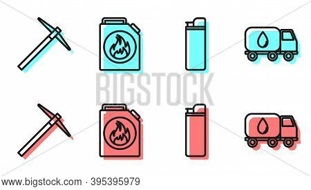 Set Line Lighter, Pickaxe, Canister For Flammable Liquids And Water Delivery Truck Icon. Vector