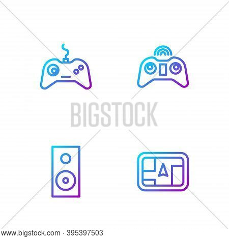Set Line Gps Device With Map, Stereo Speaker, Gamepad And Wireless Gamepad. Gradient Color Icons. Ve