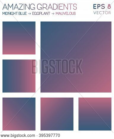 Colorful Gradients In Midnight Blue, Eggplant, Mauvelous Color Tones. Adorable Background, Extraordi
