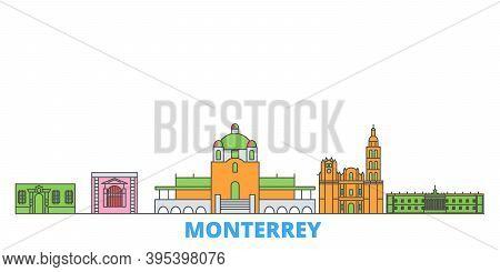 Mexico, Monterrey Line Cityscape, Flat Vector. Travel City Landmark, Oultine Illustration, Line Worl