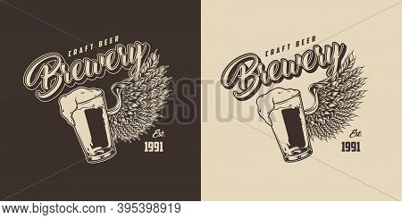 Vintage Beer Emblem With Glass Full Of Foamy Drink And Eagle Wing Of Wheat Ears On Dark And Light Ba