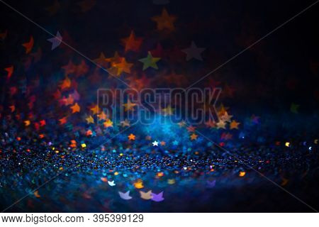 Festive Twinkle Lights Background, Abstract Sparkle Backdrop With Stars, Modern Design Overlay With