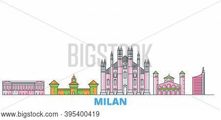 Italy, Milan City Line Cityscape, Flat Vector. Travel City Landmark, Oultine Illustration, Line Worl