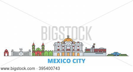 Mexico, Mexico Line Cityscape, Flat Vector. Travel City Landmark, Oultine Illustration, Line World I