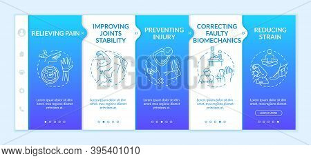 Physical Treatment Onboarding Vector Template. Improve Joint Stability. Reduce Muscle Strain. Respon