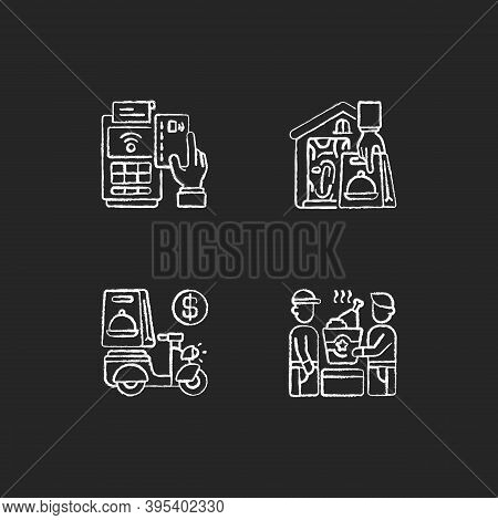Meal Delivery Orders Chalk White Icons Set On Black Background. Cashless Payment. Contactless Option
