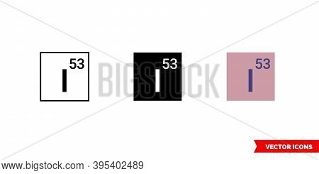 Iodine Icon Of 3 Types Color, Black And White, Outline. Isolated Vector Sign Symbol.